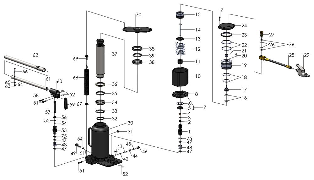 air hydraulic bottle jack 14460  u2013 bead breaker parts
